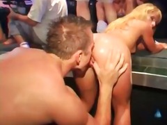 Slut on the edge of the stage fucked in a club