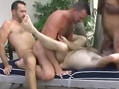Hot interracial foursome outdoor fun