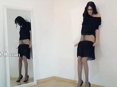 Amateur Belleses Morenes Marca Cony Dona Vestida Home Despullat
