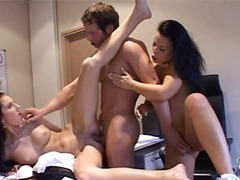 Boss fucks secretary and maid