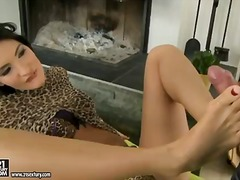 Black haired bombshell bailee enjoys to feel when someone caresses her feet