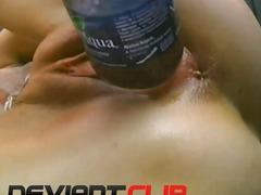 Bottles masturbation with daring mature amateur
