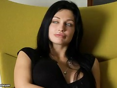 Sexy brunette aletta toys with her wet cunt after a dirty interview with a pornstar company manager