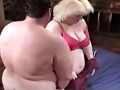 Bbw milf blonde gets her greasy pussy fucked hard by fat