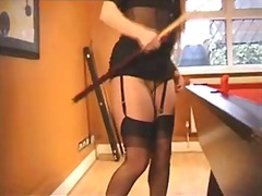 Solo babe on the billiard table