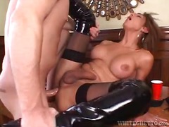 Great sex with leggy shemale in black latex boots