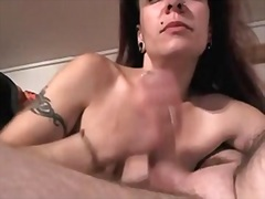 Pierced older wife doing home ramrod suck for fatty husband
