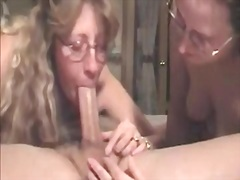 Double deepthroat video with two mature moms