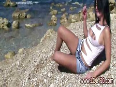 Пляж Брюнетки Наодинці Груди Дівчата