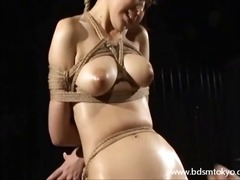 Wooden bondage and tit torture of japanese