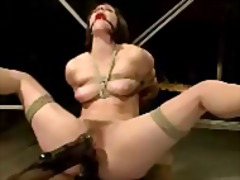 Girl mouthgag tied to woodframe getting her pussy fingered ass pussy fucked with dildo by master on a desk in the dungeon