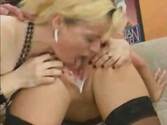 Blonde licking a creampie pussy for some cash