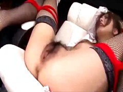 Secretary with tied legs getting her hairy pussy