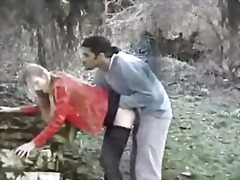 Blonde slut fucked in the forest