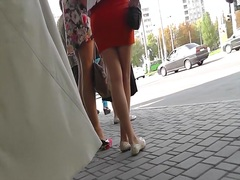 Street upskirt from sexy golden-haired