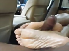 Ebony hot footjob in car