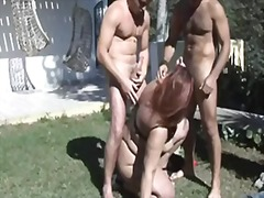 Redhead bbw-milf in outdoors-dp by young guys