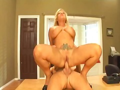 Watch this busty blonde secretary fuck her boss at the office