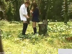 Outdoor garden day fuck schoolgirl