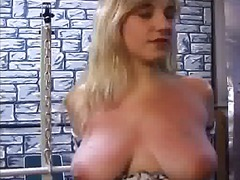 Blonde slut with big naturals has her tits squeezed & teased