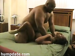 Big black guy fucks a tied skinny ebony babe