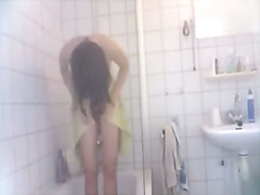 My wife wet and naked under shower