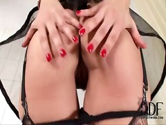 Naughty and gorgeous brunette eve angel rubs her big boobs and masturbates