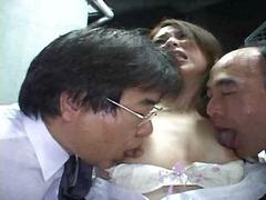 אסיאתיות הרדקור יפניות פוסי שלושה משתתפים
