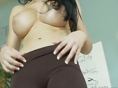 Naughty brunette bitch rebeca linares shows her shaved pussy and big delicious boobs