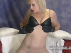 Let hot blonde axajay tease you in her leather fetish