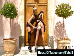 Lesbo domina spanks and gets pussy licked by bound maid outdoors
