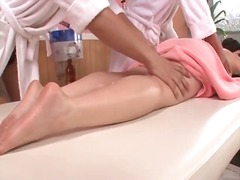 Busty japanese girl strips for a massage