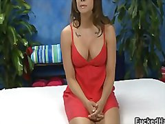 Sexy big tits brunette babe showing her