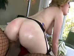 Horny shemale vanity fucked with dildo