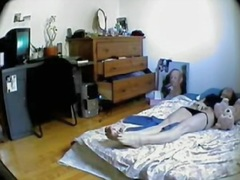 Amateur slides panty down and masturbates before spy cam spy 02