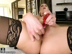 Blonde samantha ryan does striptease before she masturbates with passion