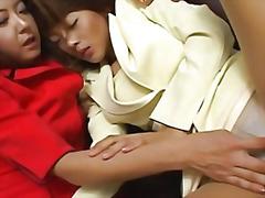Hot lesbian bdsm scene with horny japanese chicks