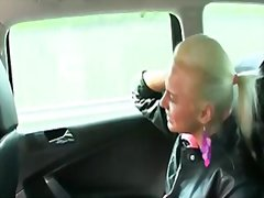 Blonde gets ass cumshot in fake taxi
