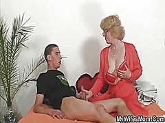 Mother-in-law fucks him and wife comes in