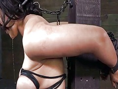 Milf penny barber drooling in metal bondage with nipple clamps